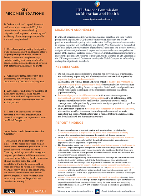 UCL-Lancet Commission on Migration and Health Policy Brief